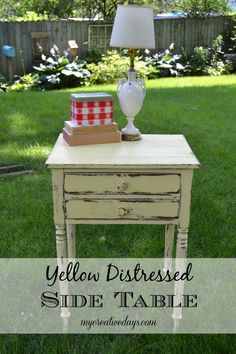 mycreativedays: Yellow Distressed Side Table
