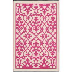 Fab Habitat Venice Cream & Pink Reversible Outdoor Area Rug - 4' x 6' ($51) ❤ liked on Polyvore featuring home, rugs, outdoor area rugs, woven rug, beige area rug, eco friendly rugs and woven area rugs