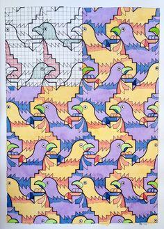 #tessellation #tiling #wallpaper #handmade #aquarelle #watercolour #geometry #symmetry #Escher #birds #structure #square #mathart #regolo54