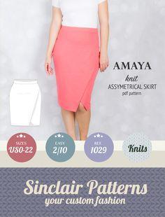 PDF sewing pattern - Feminine and elegant knit asymmetrical skirt