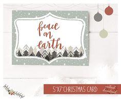 Peace on Earth Christmas Card Printable Holidays Card Happy Printable Christmas Cards, Printable Cards, Xmas Cards, Holiday Cards, Printables, Christmas Night, White Christmas, Etsy Shop Names, Yellow Daisies