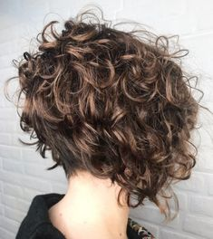 Stacked Curly Bob with Short Nape Short Curly Bob Haircut, Layered Curly Haircuts, Edgy Short Hair, Messy Bob Hairstyles, Curly Hair Cuts, Short Hair Cuts, Curly Hair Styles, Short Layered Curly Hair, Short Stacked Haircuts