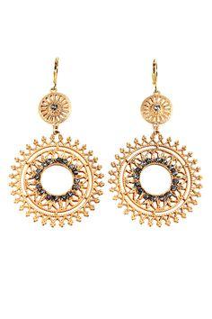 Filigree Double Drop Gypsy Earrings In Gold.