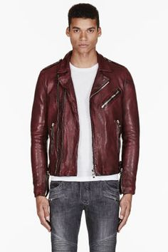 Balmain Burgundy Leather Biker Jacket for men | SSENSE