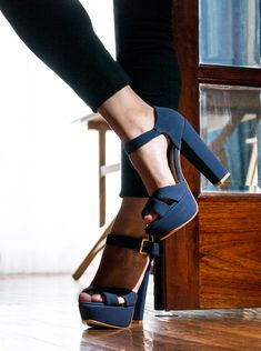 Blue platform sandals with chunky heels