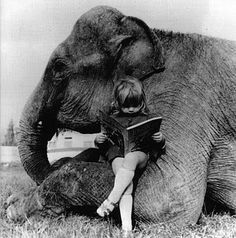 This is me when I was a little girl - lost in a book sitting next to my (imaginary) elephant.