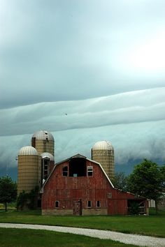 Old Red Barn with Silos...
