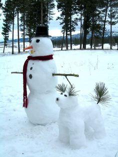 snow art snowman and snow dog Winter Fun, Winter Time, Winter Christmas, Christmas Time, Christmas Cards, Merry Christmas, Funny Christmas, Winter Ideas, Winter Months