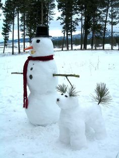 Snowman And His Snowdog  - love the sprigs for ears, tail!