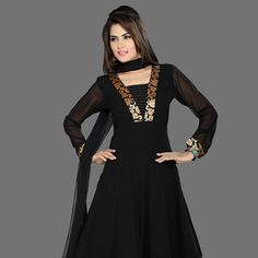 Black Faux Georgette Readymade Anarkali Churidar Kameez