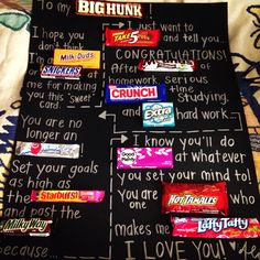 Candy poster for a college graduate.