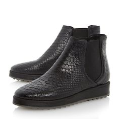 b6ff442f02a Dune Ladies PASHA Chunky Sole Reptile Print Chelsea Boot in Black Size UK 5