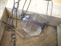 Natural Rough Rock Quartz Slab Necklace by annamei on Etsy