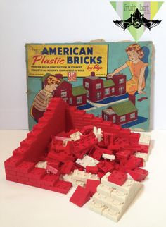 Vintage Children's American Plastic Bricks Set No. 60 by Elgo Construction Antique Nursery Decor Toy Boys & Girls Legoesque Retro MidCentury on Etsy, $28.00