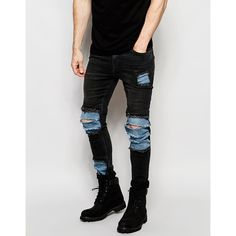 ASOS Super Skinny Jeans With Mega Rip And Repair In Washed Black ($32) ❤ liked on Polyvore featuring men's fashion, men's clothing, men's jeans, black, mens distressed jeans, mens super skinny jeans, mens distressed skinny jeans, asos mens jeans and tall mens jeans