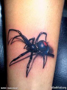 Image titled 'spider tattoo' posted by Alain-head to gallery page 'spider' on 3d Spider Tattoo, Spider Art, Black Widow Tattoo, 3d Tattoos, Cool Tats, Skin Art, Beautiful Tattoos, Tattoo Inspiration, Tattoo Designs