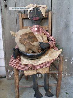 Primitive Grungy Backing Ginger Bread Mammy Doll Set Primitives photo