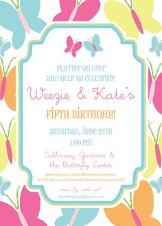 Butterfly Birthday Invitation Summer Themed by camaddisondesigns, $15.00