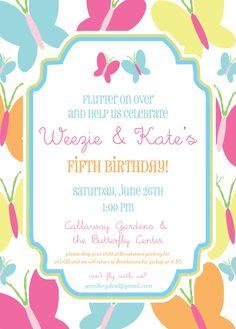 Butterfly Birthday Invitation Summer Themed by camaddisondesigns, $15.00