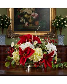 Poinsettia and hydrangea silk flower holiday centerpiece-for coffee table-living room Winter Floral Arrangements, Table Flower Arrangements, Christmas Flower Arrangements, Christmas Flowers, Table Flowers, Silk Flower Centerpieces, Coffee Table Centerpieces, Holiday Centerpieces, Centerpiece Decorations