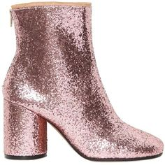 MAISON MARGIELA 80mm Glittered Ankle Boots ($243) ❤ liked on Polyvore featuring shoes, boots, ankle booties, pink, ankle boots, maison martin margiela, short boots, high heel bootie, high heel ankle booties and glitter boots