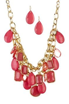 Shades of Pink Carnival Necklace & Earrings Set