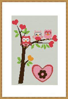 Owls 544 Cross Stitch Pattern by LindaPatterns on Etsy Cross Stitch Owl, Cross Stitching, Cross Stitch Patterns, Fuse Bead Patterns, Beading Patterns, Embroidery Thread, Cross Stitch Embroidery, C2c Crochet Blanket, Hama Beads Design