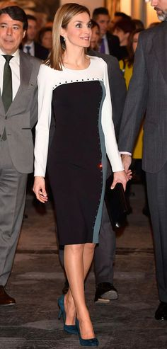 King Felipe and Queen Letizia of Spain attend a contemporary art exhibition. 2/26/2015