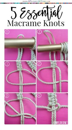 5 essential beginners macrame knots                              …                                                                                                                                                                                 More
