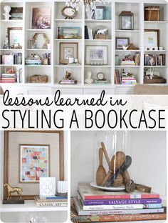 Lessons learned in styling a bookcase... such great tips and practical tricks!  www.findinghomeonline.com #homedecor  #decorating