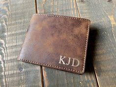 Personalized wallet for him! Perfect valentines day gift for your boyfriend husband or just any special man in your life. https://www.etsy.com/listing/573882762/personalized-mens-wallet-laser-engraved