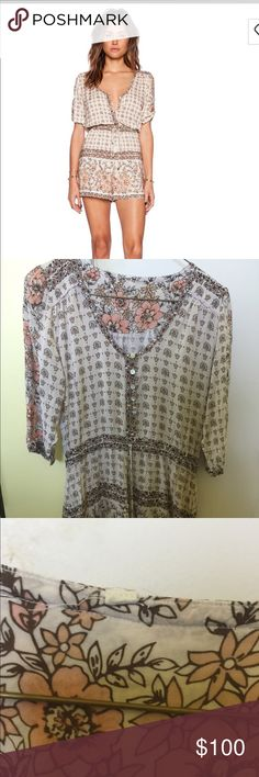 Spell & the Gypsy Collective Desert Rose Romper Desert Rose romper in XS, would love to trade for something also on the desert rose print in small/medium.  Excellent condition, though size tag has been snipped off.  I'm new to Posh, but only because I'm tired of the 'other' place.  My website tells who I am, and why by design I would not buy nor sell fake anything.  :) Spell & The Gypsy Collective Pants Jumpsuits & Rompers