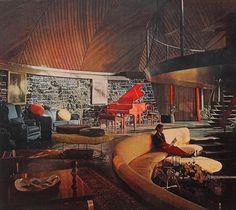 Mid-Century architecture: the 'Round House', Aurora, Illinois, designed by Bruce Goff, 1957 Retro Interior Design, Mid-century Interior, Scandinavian Interior, Country Interior, Interior Sketch, French Interior, Classic Interior, Interior Modern, Casa Bunker