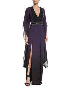 Long Ombre Caftan Dress, Women's, Size: 14, Edbrry Ombre Prnt - Halston Heritage
