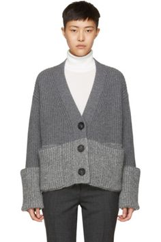 Long sleeve rib knit wool and cashmere-blend cardigan in 'charcoal' grey. Y-neck collar. Button closure at front. Patch pockets at waist. Tonal mohair-blend trim at hem and rolled cuffs. V Neck Cardigan, Knit Cardigan, Short Noir, Knit Fashion, Moncler, Mantel, Women Wear, Vogue, Sari