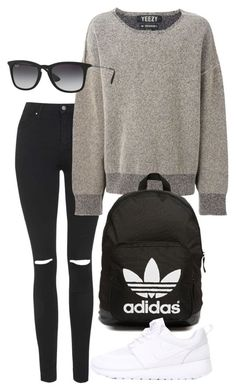 """Untitled #2375"" by oliviaswardrobe ❤ liked on Polyvore featuring Topshop, adidas Originals, Ray-Ban and NIKE"