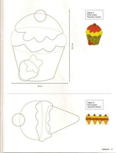 Is forme og cupcake til patchwork Applique Templates, Applique Patterns, Applique Quilts, Felt Patterns, Craft Patterns, Sewing Patterns, Sewing Appliques, Paper Piecing, Felt Crafts