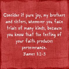 James 1:2-3  More at http://ibibleverses.christianpost.com/