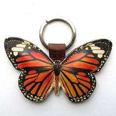 Leather keychain/ bag charm  Monarch butterfly by corrietovi