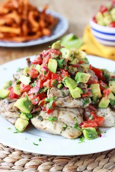 30 Minute Cilantro-Lime Chicken with Avocado Salsa - whole meal for the family in 30 minutes and all from scratch! Make chicken sliders. Kids love it. | littlebroken.com
