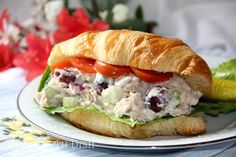 A grown-up, southern tea room style chicken salad, made with chicken, red onion, apples, grapes, and pecans and a secret ingredient of fruit chutney.