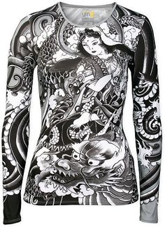 Women's Athletic Apparel: Asian Print Long Sleeve Athletic Lifestyle Top - Womens Workout and Sports Clothes by YMX