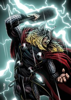 Original Comic Art titled THOR by J. Wzgarda (color version, located in J.'s Commission Comic Art Gallery Ms Marvel, Marvel Heroes, Marvel Avengers, Comic Book Guy, Comic Book Characters, Marvel Characters, Dc Comics Superheroes, Marvel Comics Art, Storyboard