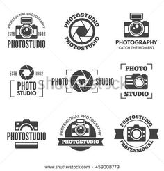 Photo studio labels, badges, logo, emblems, signs, set of retro camera vector templates isolated on white background. Photography branding design elements, business corporate identity templates.