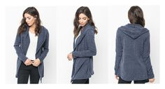 """Navy hooded cardigan - Caralase"" by caralasefashion ❤ liked on Polyvore"