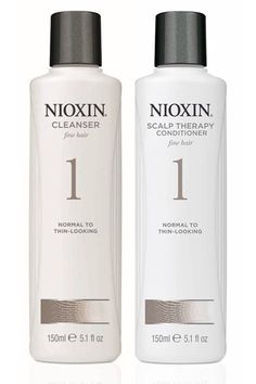 Nioxin for thinning hair. Also can be used to clear up a flaky scalp. Smells minty fresh