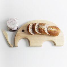 [애쉬원목] 수제 원목 나무 빵도마 코끼리모양 (친환경 마감) - 상품이미지