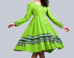 Daphne - - Light green linen dress(E53471750). $65.00, via Etsy.