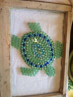 Sea Turtle in antique window - SOLD