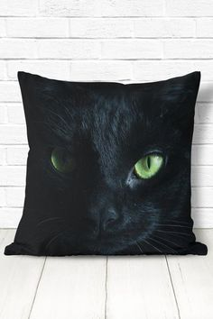 Black cat pillow. Halloween decor.  Size options: 14x14, 16x16, 18x18, 20x20, or 26x26. Material: spun polyester cover, optional polyester insert.  Care instructions: machine wash the case in cold water using mild detergent and gentle cycle only. Do not bleach or tumble dry.  Please note, the image
